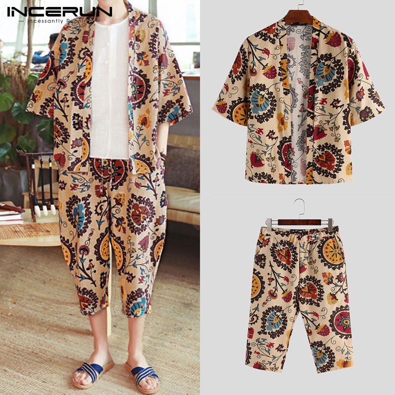 INCERUN Ethnic Style Printed Men Sets Casual Cotton Streetwear Vintage Half Sleeve Outerwear Tops Mens Pants 2 Pieces Sets 2020