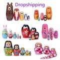 Деревянные русские куклы-матрешки, 1 комплект, куклы-матрешки, бабушка, ручная роспись, медведь, Русские подарки для детей, кукла ручной рабо...