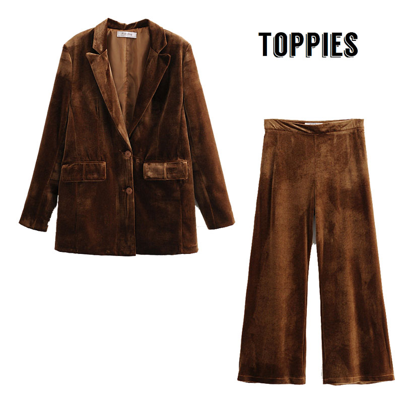 Vintage Camel Velvet Suit Jacket Laides Two Piece Set Autumn Winter Blazer Jacket High Waist Suit Pants