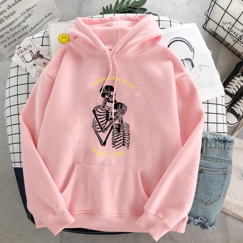 Punk style women's hoodie skull long sleeve casual top goth skeleton dark black 2021 loose ulzzang fashion women's sweatshirt 23
