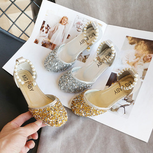 Image 3 - Kids Princess Shoes for Girls Mary Jane Sandals Low Heel Sparkle Rhinestone Dance Shoes 2020 Children Girl Party Dress Shoes