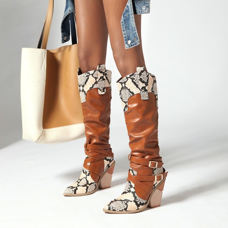 New Snake Print Stitching Boots Mixed Colors Buckle Knee High Boots Winter Women Shoes Pointed Toe Cowgirl Boots Western Boots