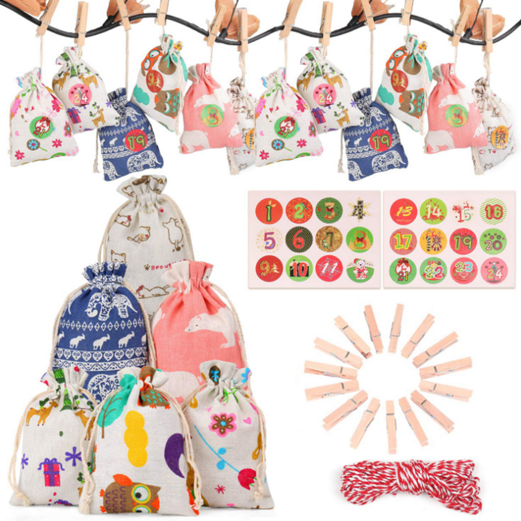 24PCS Christmas Packing Gift Bag Party Cotton Advent Calendar Burlap Santa Sack