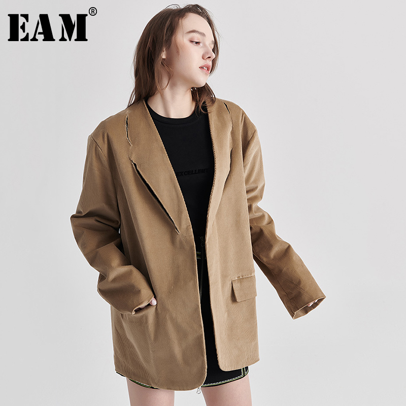 [EAM]  Women Camel Corduroy Temperament Blazer New Lapel Long Sleeve Loose Fit  Jacket Fashion Tide Spring Autumn 2020 1S102