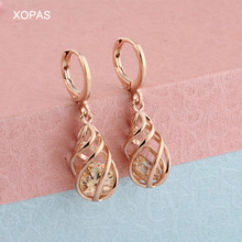 Hollow Out 6 Color Water Drop Earrings for Women Cubic Zircon Korean style 585  Rose Gold Luxury Fashion Jewelry Gift