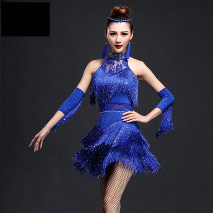LATIN PRO SALSA SHINNY FRINGE DRAG QUEEN DANCE DRESS