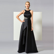 Tanpell Black Evening Dress Straps Backless Sleeveless Beading Runched Woman Party Gown Floor Length A Line Evening Dress ladylike straps appliques beading sequins evening dress