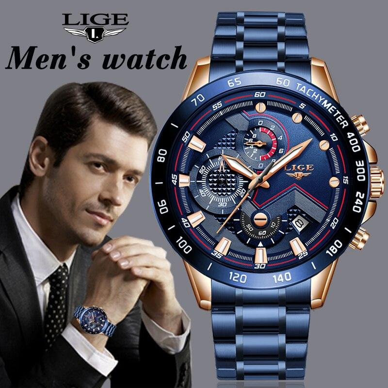 LIGE Novo Negócio Dos Homens Relógio de Pulso Cronógrafo de Aço Inoxidável Relógio de Luxo Da Marca Militar Do Exército Relógios de Quartzo Relogio masculino