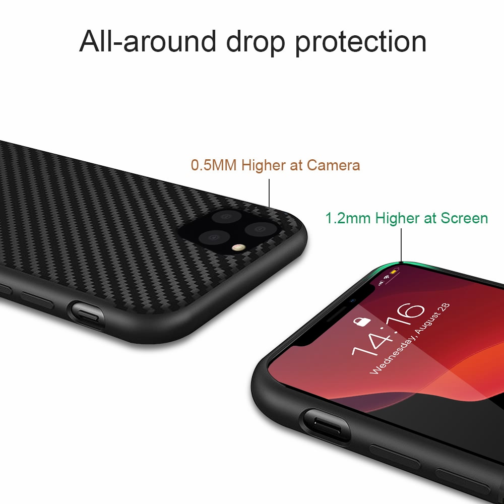 Carbon Fiber Texture Shockproof Case for Apple iPhone 12 Mini