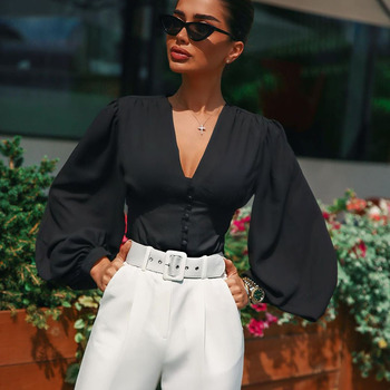 Summer 2020 New Women's Tops Sexy Deep V-neck Black Button Lantern Long Sleeve Slim Elegant Elegant Ladies Top lace applique lantern sleeve cold shoulder top