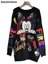 Women Runway Sequins Knitting Sweater 2019 Newest Autumn Long Sleeve Printed Cut Cartoon Mickey Pullovers Loose Sweaters