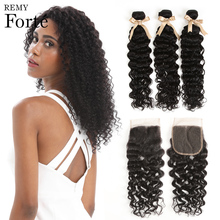 Remy forte Water Wave Bundles With Closure 30 Inch Bundles With Closure  Brazilian Hair Weave Bundles 3/4 Bundles With Closure remy forte straight hair bundles with closure pink bundles with closure brazilian hair weave bundles 3 4 colored hair bundles