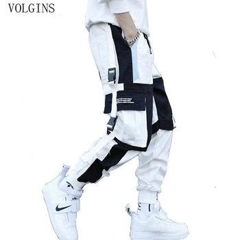 Streetwear męskie wiele kieszeni haremki bojówki spodnie Hip Hop na co dzień mężczyzna spodnie do biegania spodnie do biegania moda Harajuku męskie spodnie tanie i dobre opinie VOLGINS Ołówek spodnie Mieszkanie Poliester COTTON Kieszenie REGULAR Pełnej długości Midweight Suknem Elastyczny pas