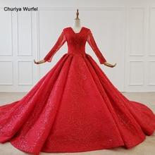 HTL1183 Rosso Vestito da Sera Lungo Del Manicotto di Applique Perline Paillettes Lace Up Torna Ball Gown Plus Size Abiti da Sera Suknie Wieczorowe