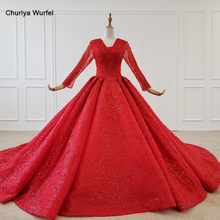 HTL1183 red evening dress long sleeve applique beading sequin lace up back ball gown plus size evening dresses suknie wieczorowe
