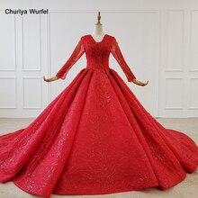 فستان سهرة أحمر بأكمام طويلة مزين بالخرز من HTL1183 ، فستان سهرة برباط من الخلف ، مقاس كبير