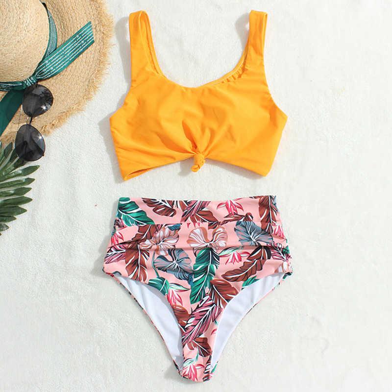 Sport di Nuotata del Bikini A Vita Alta Costume Da Bagno Delle Donne 2020 Imbottito Leopardo Floreale highwaist Costumi Da Bagno Vestito di Nuoto Per Le Donne Costume Da Bagno