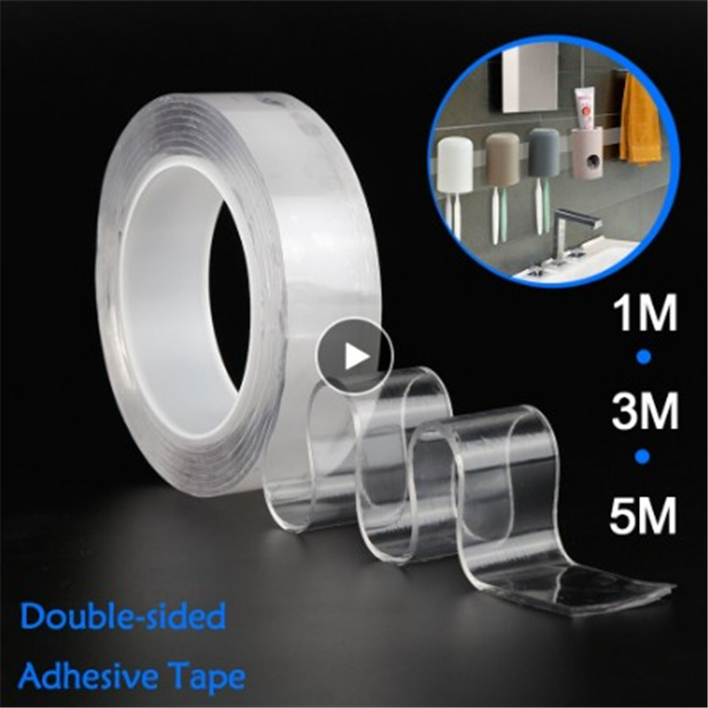 Magic Tape Reusable Double Sided Adhesive Nano Traceless Tape Removable Sticker Washable Adhesive Loop Disks Tie Glue Waterproof
