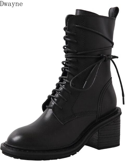 Moto beau bottes 2019 automne sauvage Martin bottes femme britannique vent épais avec des bottes à talons hauts dans le tube
