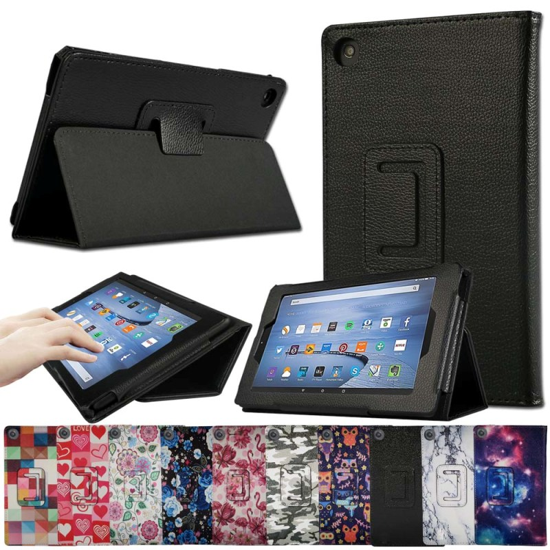 KK&LL For Amazon Fire HD 8 (6th/7th/8th Generation, 2016 2017 2018 Release) Tablet Leather Stand Folio Cover Protective Case+Pen