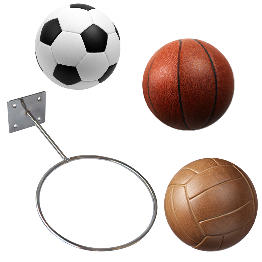 Clispeed 2PCS Wall-Mounted Ball Holders Display Racks for Basketball Soccer Football Volleyball Exercise Ball Black