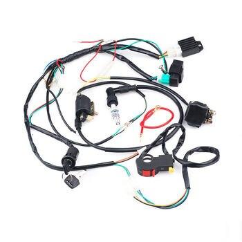 цена на Adeeing  For 50 70 90 110CC ATV Quad Gokart Full Electrics Wire Harness Coil CDI Wiring Set Quad Wire harness Coil lead