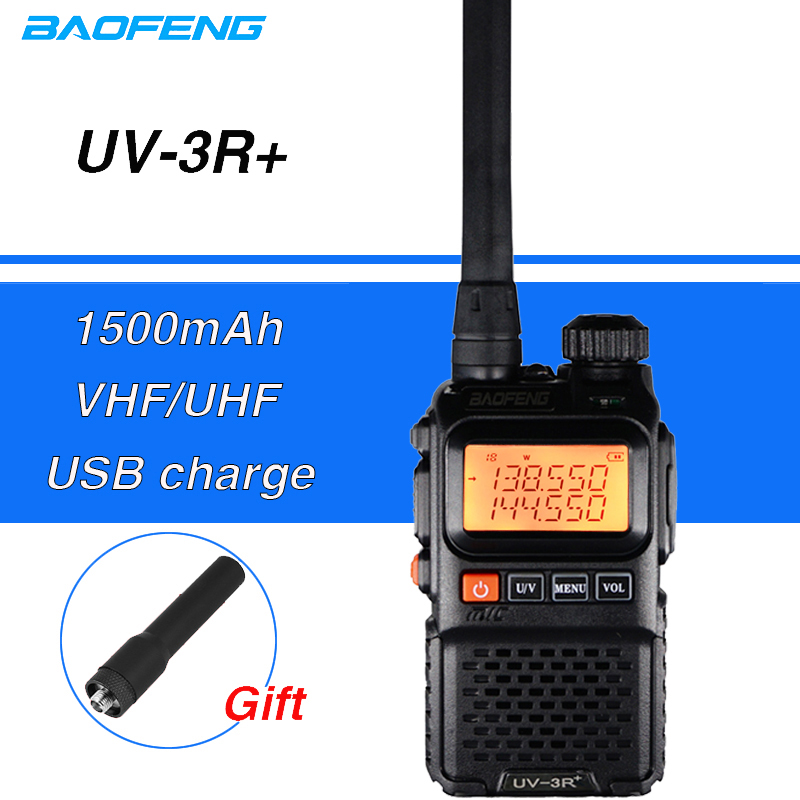 Baofeng UV-3R Plus Walkie Talkie Mini UV 3R+ Portable CB Radio Amador UHF VHF Ham CB Radio VOX Flashlight FM Transceiver UV3R