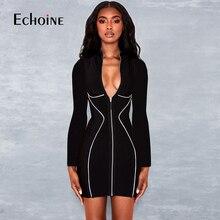 Fashion Reflective striped sexy dress women 2019 turtleneck long sleeve  dresses Zipper cardigan patchwork ladies skinny