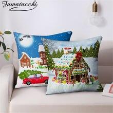 Рождественская наволочка для подушки fuwatacchi 45*45 с принтом