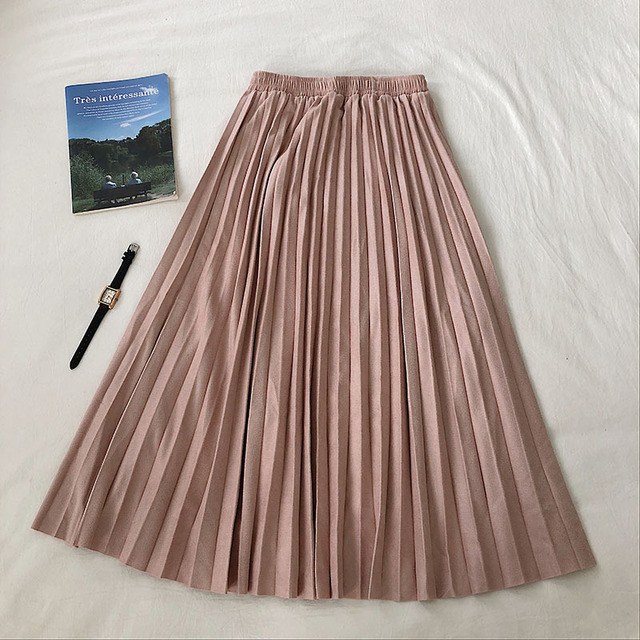 Autumn winter women vintage loose slim skirt 2019 Women Elastic waisted suede pleated skirts womens lady Casual skirts female