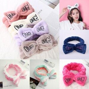 Cute Plush Bow letter Elastic Headbands Hair Accessories For Women Korean Fashion Winter Soft Girl Wash Face Hairband Headdress(China)
