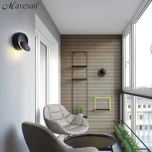 Image 4 - LED קיר מנורת 360 תואר סיבוב מתכוונן המיטה אור לבן ושחור creative מנורת קיר שחור מודרני מעבר עגול מנורה