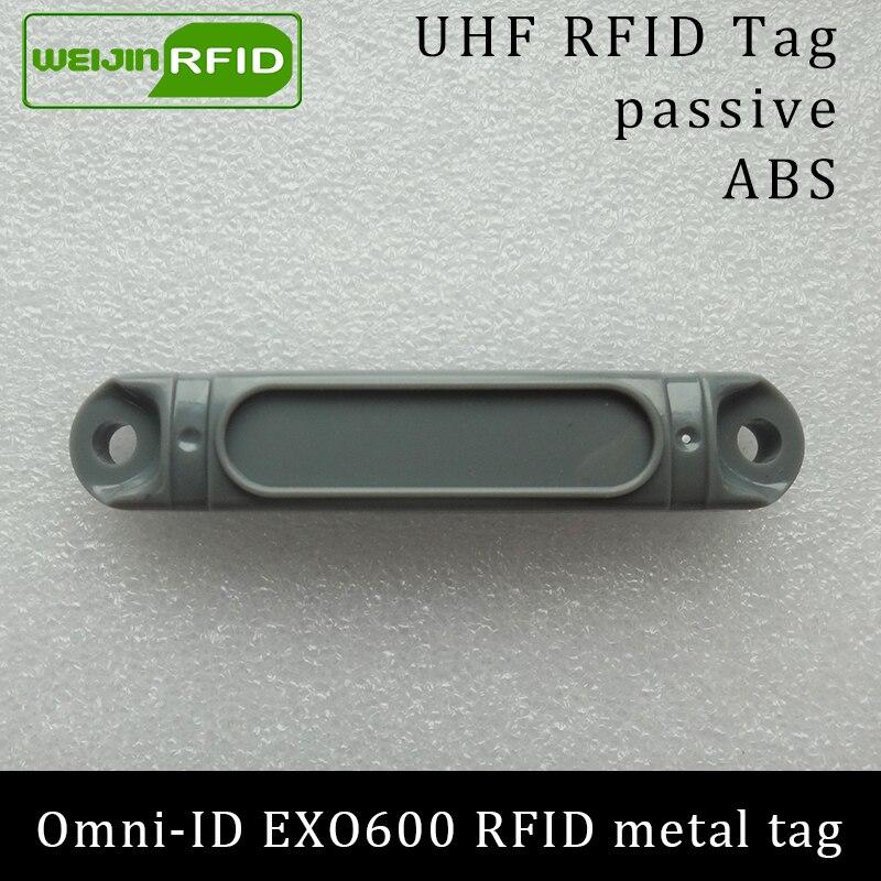 UHF RFID ლითონის წარწერა omni-ID EXO600 EXO600 915mhz 868mhz Impinj Monza4QT EPC C1G2 6C გამძლე ABS სმარტ ბარათის პასიური RFID ტეგები