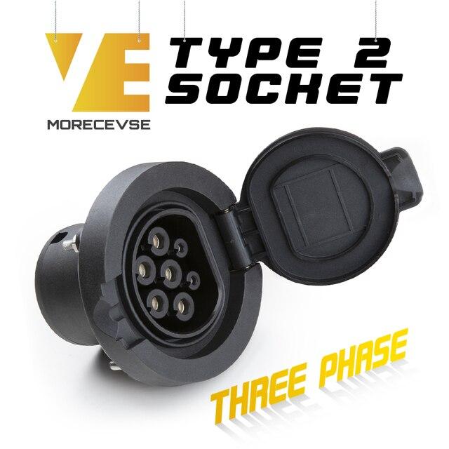 Morec مقبس شحن السيارة الكهربائية ، 32 أ ، 3 مراحل ، IEC 62196 2 ، من النوع 2 ، موصل 4 نقاط ثابت