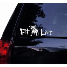 6in Tshirt Rocket Happy Pit Life Floppy Ears Decal Cute Pitbull Bull Dog Terrier Vinyl Car Laptop Wind