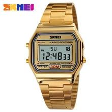 SKMEI złote modne Casual Sport zegarek dla mężczyzn wyświetlacz LED zegarki wodoodporne męskie zegarki złote zegarki męskie reloj hombre