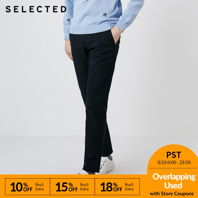 SELECTED Men's Winter Slim Fit Pure Color Pants S418414501-in Skinny Pants from Men's Clothing    1