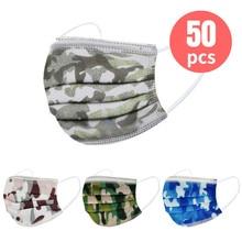 Mascarilla facial desechable de 3 capas para niños, máscara gruesa de camuflaje, higiénica con filtro, para la oreja con elásticos, 50 Uds.