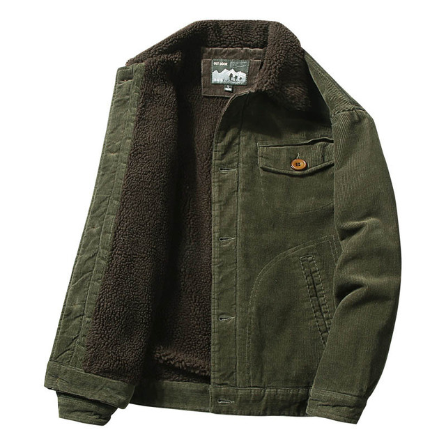 Mcikkny Men Warm Corduroy Jackets And Coats Fur Collar Winter Casual Jacket Outwear Male Thermal 4