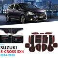 Противоскользящие резиновые ворота слот чашки коврик для Suzuki SX4 S-Cross 2014 2015 2016 2017 2018 Maruti SX-4 SX 4 S Крест SCross подушка