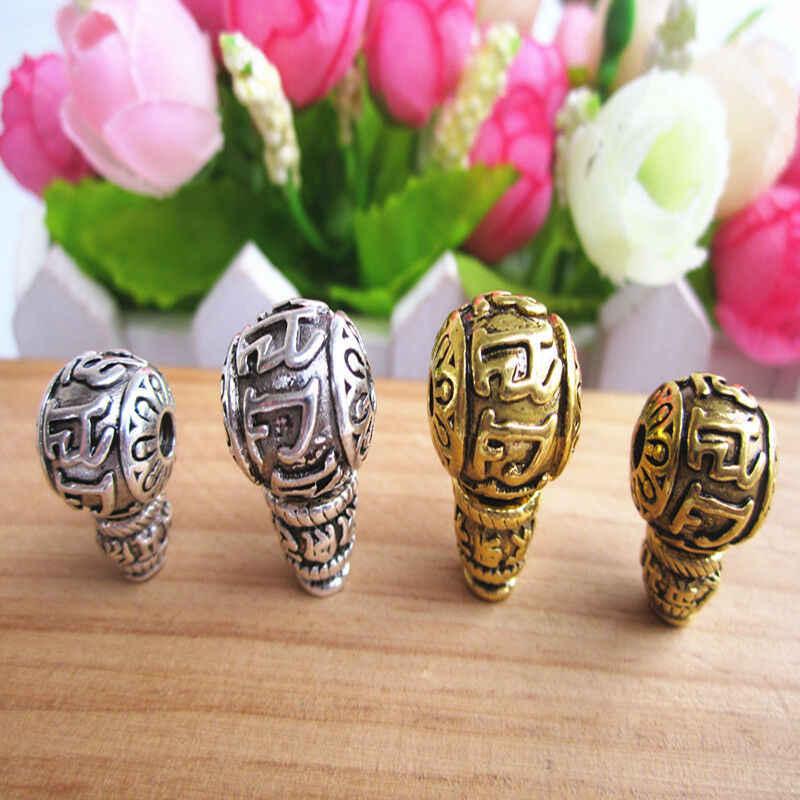 2Set-4 piezas de plata tibetana Om mani padme hum budismo Guru abalorios encontrar-DIY
