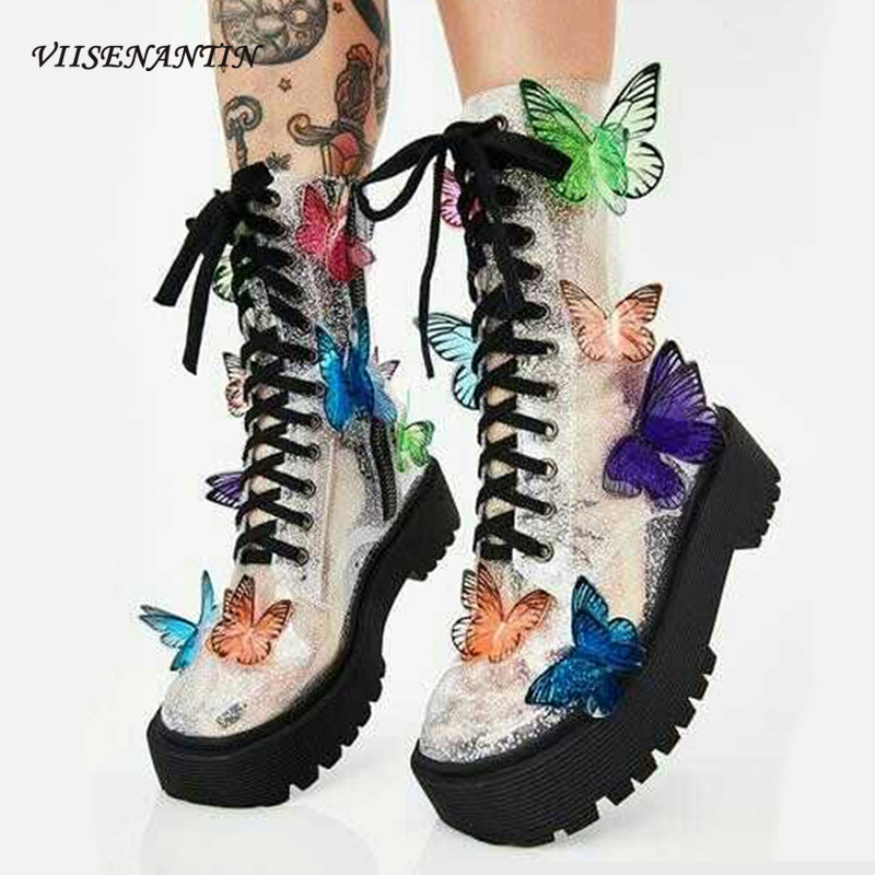 PVC Butterfly Lady Ankle Boots Thick Bottom Flat Platform Shoes Lace Up Beautiful Fairy Transparent Clear Booties