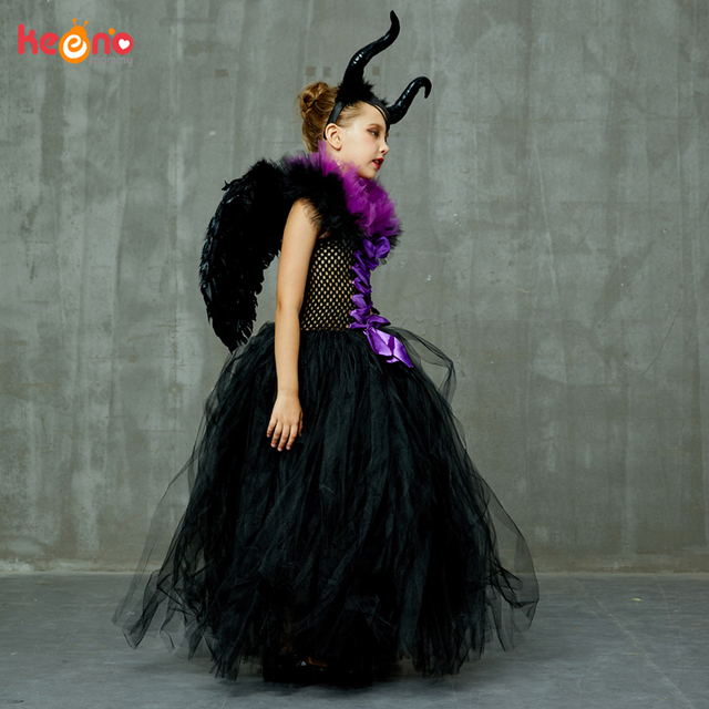 Maleficent Black Gown Tutu Dress with Deluxe Horns and Wings Girls Villain Fancy Dress Kids Halloween Cosplay Witch Costume 3
