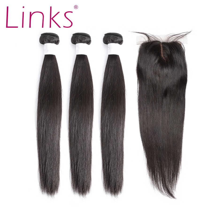 Links 8-28 inç brezilyalı saç düz demetleri ile 4*4 kapatma Frontal 3 4 demetleri insan Remy 28 30 inç saç dalga uzantıları