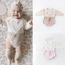 Lovely Winter Bodysuit Infant Baby Girl Knitted Clothes Love Print Long Sleeve W
