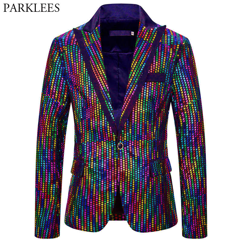 Colorful Rainbow Glitter Sequin Blazer Jacket Men One Button  Peak Lapel Slim Mens Blazers Party Stage Prom Clothes for Singers