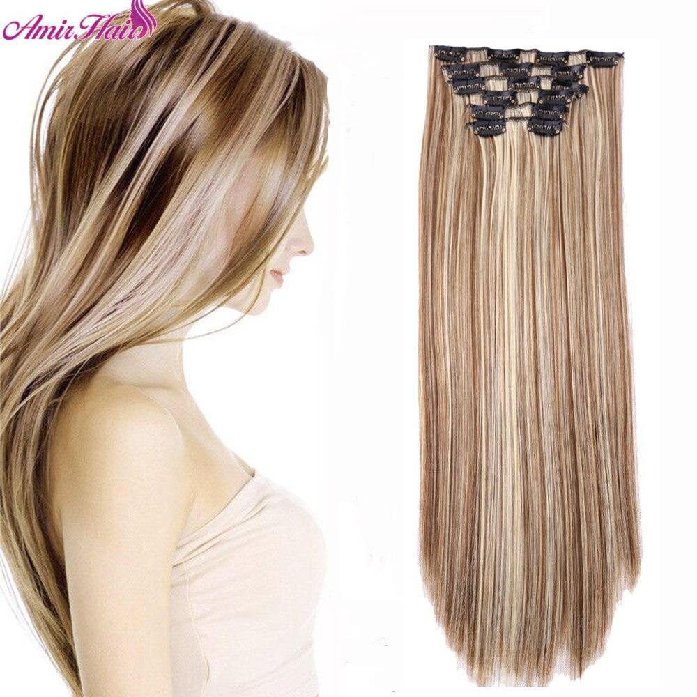Синтетические волосы Amir, 22 дюйма, 140 г, 16 зажимов, 6 шт./компл., зажимы для наращивания волос, Длинные прямые Термостойкие удлинители волос
