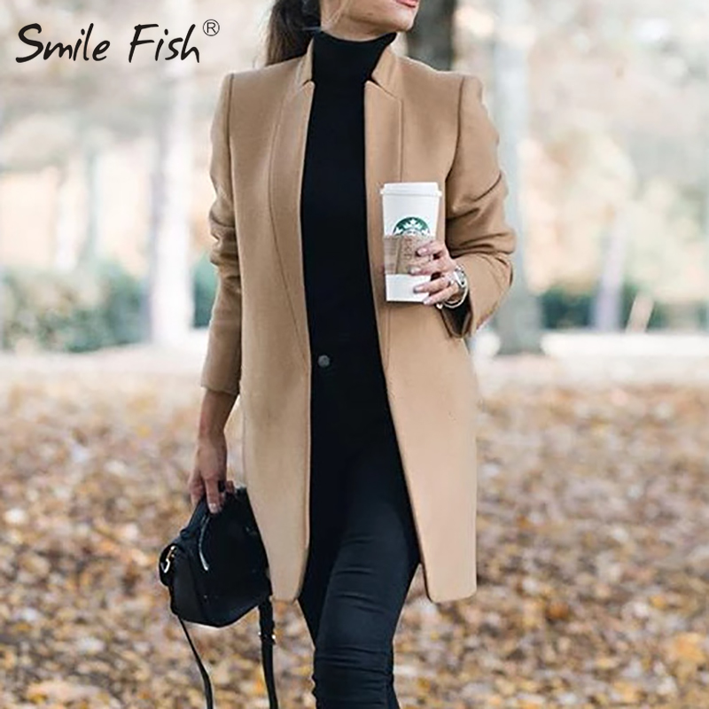 Office Ladies Solid Slim Overcoat Women Woolen Long Jackets 2019 Autumn Winter Long Sleeve Woolen Coats Outwear Camel Coat GV964