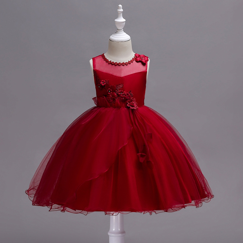Girls Dress 2019 Autumn CHILDREN'S Full Dress Irregular Hem Sleeveless Flower Princess Dress Drees