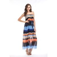 Chiffon Boho Long Dress 2019 Gradient Off Shoulder Strapless Beach Summer Dresses Women Maxi Dress Plus Size 3xl 4xl 5xl 6xl